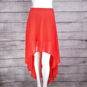 Topshop High Low Skirt Asymmetrical Red Coral US 4